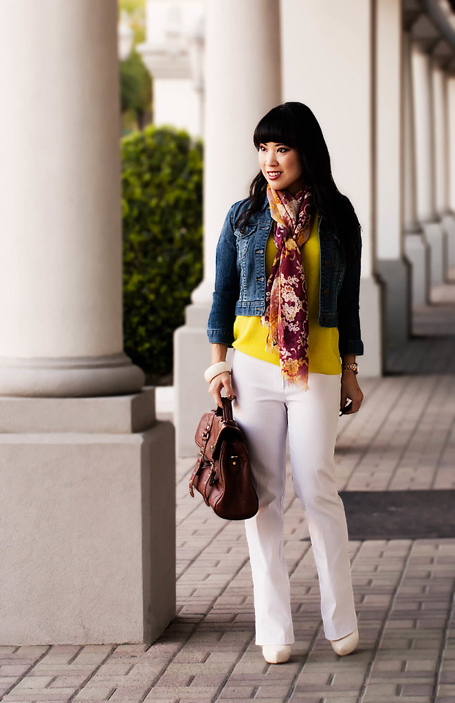 gap neon yellow drop shoulder sweater, forever 21 cropped denim jacket, bui-yah-kah white pants, gabriella rocha leesha white boots, forever 21 white bangle, the limited vintage lace oblong scarf, michael kors rose gold small runway watch mk5430, tjmaxx vieta lucille buckle satchel