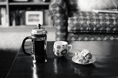 it's saturday! (jamie {74}) Tags: bw coffee breakfast 50mm nikon frenchpress nikkor iso500 d7000 52weeksofbw clichesaturday 52weeksofnocolor thirdweekofoctober