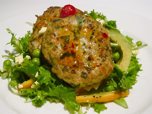 Chicken cakes and garden salad