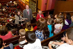 Representatives Rosa Rebimbas and David Labriola talk with Salem School children during their tour of the State Capitol on Wednesday May 25, 2011.