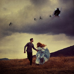 invading homes (brookeshaden) Tags: sky mountains birds rip surreal running torn tear invasion fineartphotography brookeshaden texturebylesbrumes brianoldham