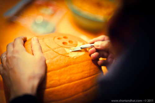 Making of the Coraline pumpkin