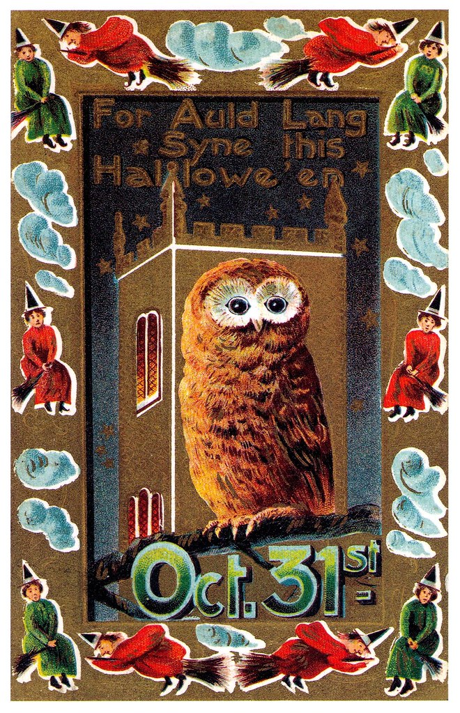 Vintage Halloween postcard - owl