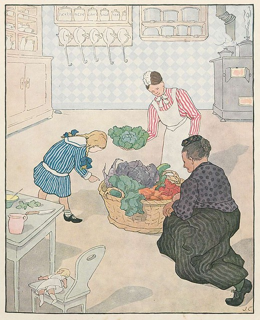 coloured children's book illustration of vegetable seller delivering goods to house kitchen
