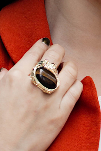 romwe street style gem ring in palmoxylon