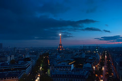 Paris (AO-photos) Tags: city sunset sky paris tower night clouds nikon tour view eiffel nuit d300s