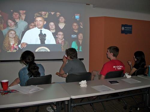 University of Arizona students watching POTUS
