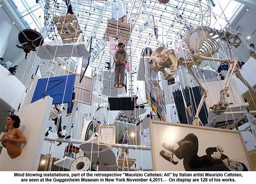 "Mind blowing installations, part of the retrospective ""Maurizio Cattelan: All"" by Italian artist Maurizio Cattelan by artimageslibrary"
