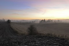 The view from my garden (once again) (Tommy Gildseth) Tags: sunset mist fog landscape farm farmland akershus romerike ullensaker klfta