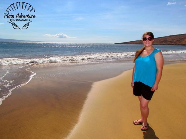 Karen on Sugar Beach