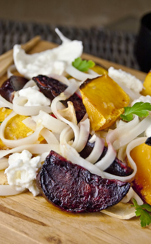 Roasted Beets, Butternut-squash salad in an Oriental dressing
