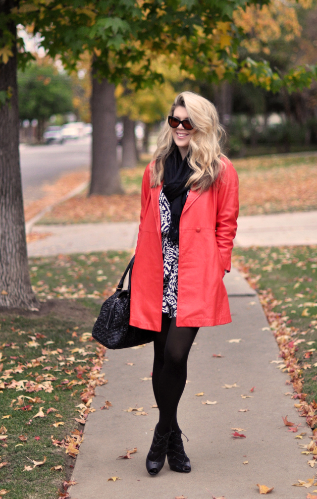 vintage coral  red  leather coat -black and white print dress-black tights