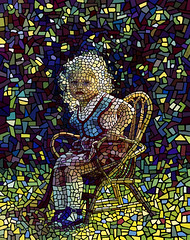 A Child Dreaming (Ben Heine) Tags: baby black art texture window colors triangles design crazy chair colorful different pieces child squares handmade geometry mosaic details faith religion workinprogress creative stainedglass simulation structure special digitalpainting blond vitrail futurism mathematics marta dots asymmetry effect complex rectangles mutation rverie irregular cubism rounds rve timeconsuming morceaux abstractshapes benheine digitalcirclism alittlegirldreaming smallelements