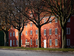 Fairy scene around a bench in the Kastellet the Citadel (B℮n) Tags: park houses shadow red castle monument public copenhagen geotagged denmark site construction topf50 europe shadows citadel military ministry historic ramparts danish area walls fortification bastion topf100 complex defence cultural kastellet starshaped 100faves 50faves hjemmeværnet forsvarets auditørkorps geo:lon=12594763 geo:lat=55691553 341yearold