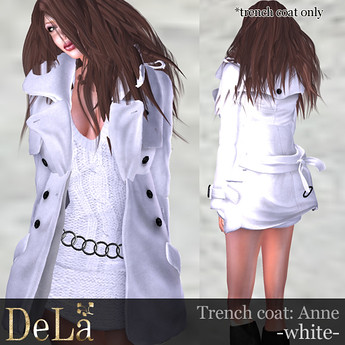 "=DeLa*= Trench coat ""Anne"" White, 395 lindens  by Cherokeeh Asteria"