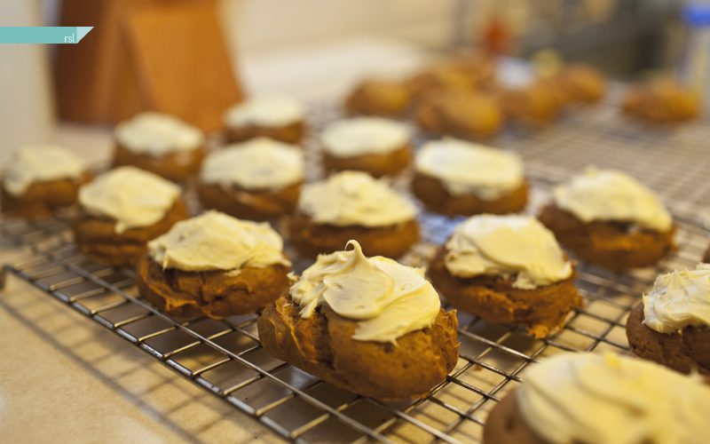 Pumpkin cookies + buttercream frosting
