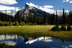 Mount Rundle and Vermilion Lakes (Rebecca Ang) Tags: park usa mountain lake canada mountains reflection landscape rockies nationalpark nikon d70 nikond70 lakes reflect national banff rockymountains mountrundle banffnationalpark mtrundle canadianrockies banffalberta canadianrockymountains vermilionlakes vermilionlake lakevermilion
