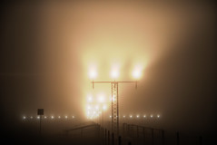 Foggy Runway - Linate Airport (neimon2 (too busy, sorry for my temporary silence)) Tags: light fog night airport milano aviation foggy landing runway hdr linate neimon2
