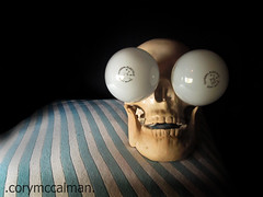(5/365)Bright Eyedea (Cory McC) Tags: blue light silly cute lightbulb bulb digital canon skeleton skull scary funny stripes pirate horror macabre project365 365days 365project