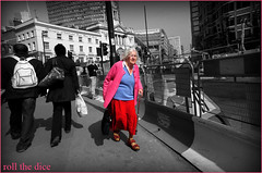 `613 (roll the dice) Tags: uk pink portrait blackandwhite woman colour london art classic westminster fashion natural candid strangers streetphotography stranger victoria unknown unaware selective sw1 oap pensioner londonist