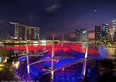Night Scene Esplanade Outdoor Theatre,Singapore (KcPua) Tags: singapore esplanade marinabay marinabaysands
