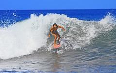 wahine wave rider (bluewavechris) Tags: ocean sea sun sexy water girl smile fun hawaii surf action surfer board wave maui spray bikini foam surfboard swell wahine surfergirl