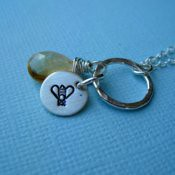 November Necklace- Citrine and Bee Birthstone Necklace  **Additional Birthstones and Images Availabl
