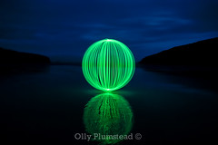 Reflection. (Olly Plumstead) Tags: blue light sky reflection green beach water night canon ball reflections dark painting sand long exposure angle wide orb sigma reflected le hour olly 1020 plumstead 14mm 450d