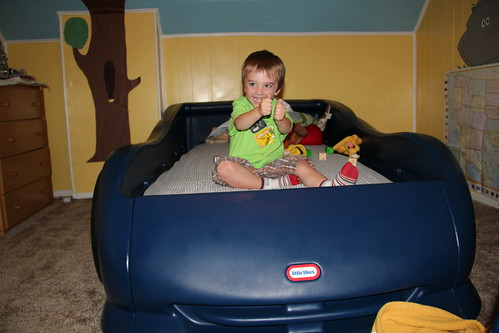 Olsen in his Racecar Bed!