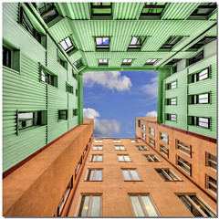 Orange & green (Nespyxel) Tags: windows orange verde green architecture square sweden pov gothenburg perspective vertigo lookingup dizzy 8mm architettura hdr arancione goteborg prospettiva finestre geometrie svezia geometries tonemapping noseup colorphotoaward nespyxel stefanoscarselli undermyfeetovermyhead storabadhusgatan28bgothenburg