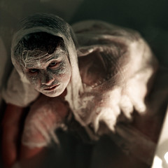 the continual aging of earth. (Casey David) Tags: blue woman white black girl lady milk scary lace curtain ghost horror eggs bathtub flour ghostly supernatural flours project365 365days caseydavid caseydavidphotography