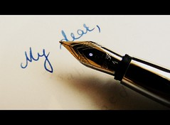 obsolete (oana-emilia) Tags: blue macro pen handwriting letter fountainpen lettering monday macromondays cursivehandwriting