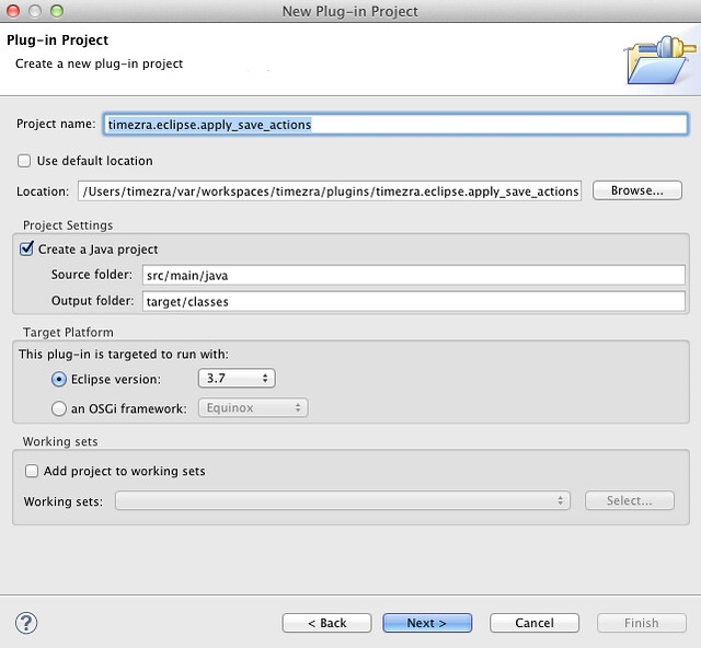 The New Plug-in Project wizard with Maven-inspired configurations