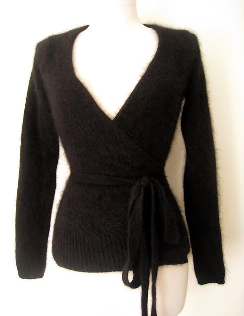Deep V Black Angora Wrap Sweater, vintage 80s