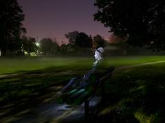(Kyle Tate) Tags: park longexposure light shadow sky girl lady night bench ghost erie