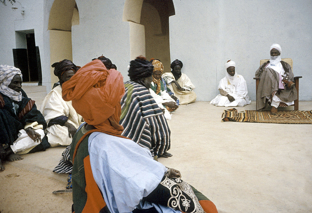 Elite bodyguards of the Emir of Katsina attending a morning greeting ceremony, Katsina, Nigeria. [slide] 1959. eepa_01387