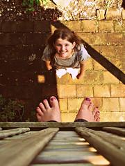 Two Feet Up (Kaptain Kobold) Tags: selfportrait feet alan vintage garden toes maya down explore deck processing lookingdown nailpolish myfave wh nailvarnish selfie hcs shadown kaptainkobold yourfave i500