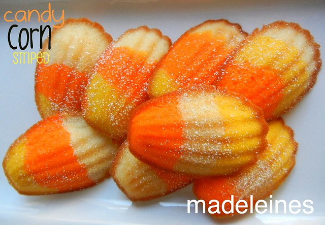 candy corn striped madeleines
