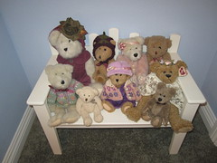 Lil Bears on a bench (Sunny Day Photography) Tags: bench teddybear bearcollection babyroomchildroom