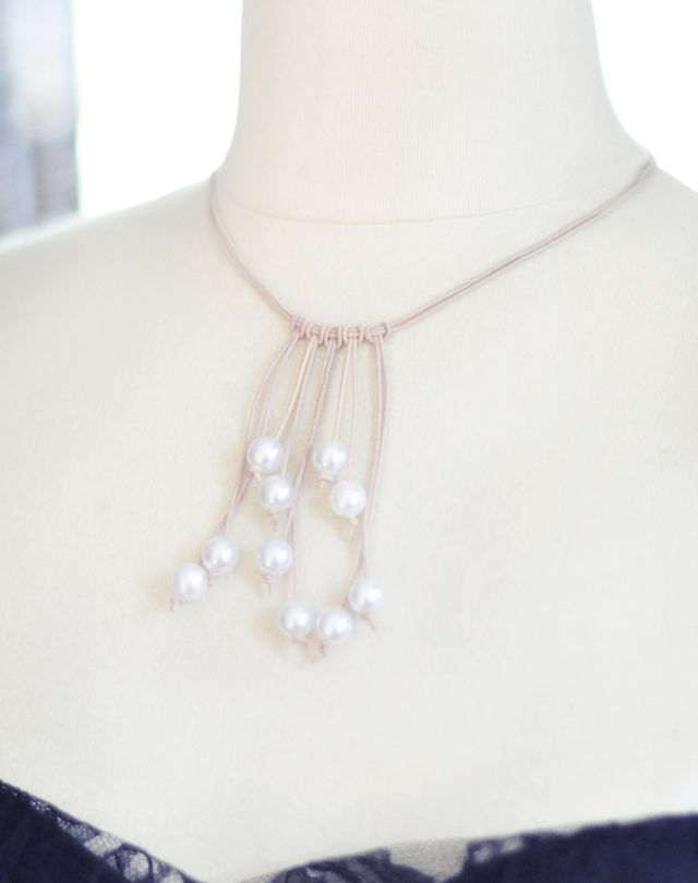 a Leather and pearl necklace diy