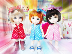 Polka dot (BeautifulPinPin) Tags: pink blue red outfit doll dolls dress lea cloth lumi polkadot ante latiyellow pukifee beautifulpinpin bjdcloth