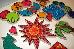 Cookies based on Niece's Artwork (Jill FCS) Tags: sun abstract cookies cookie palmtree designs tatooheart