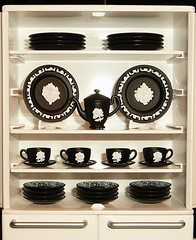 Re-ment Wedgwood Jasperware... in Black? (CarolineSwing) Tags: china white black fairytale miniature paint tea painted mini dishes rement teatime wedgwood dollhouse wedgewood tableware  jasperware