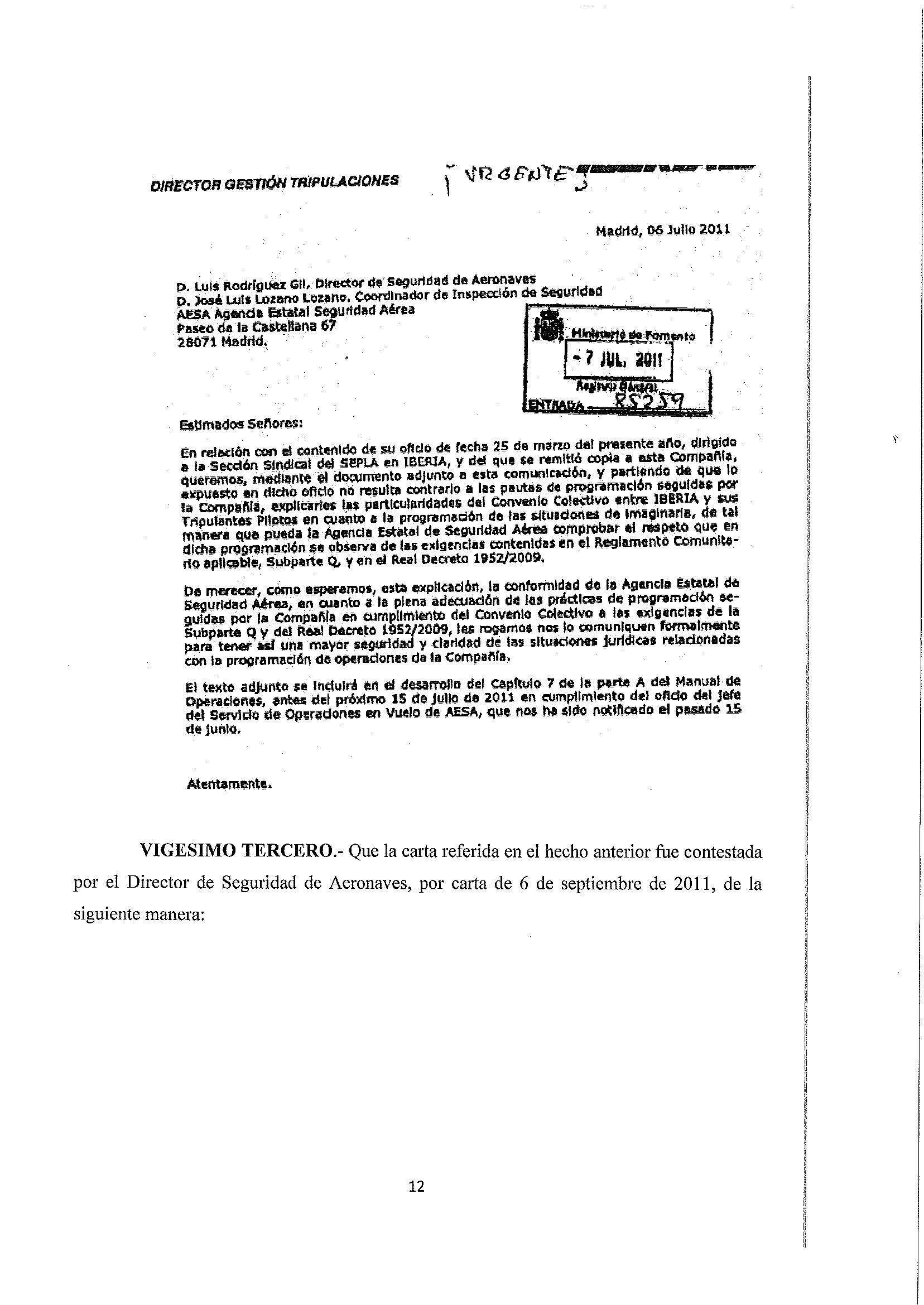 Petición de información de IBERIA