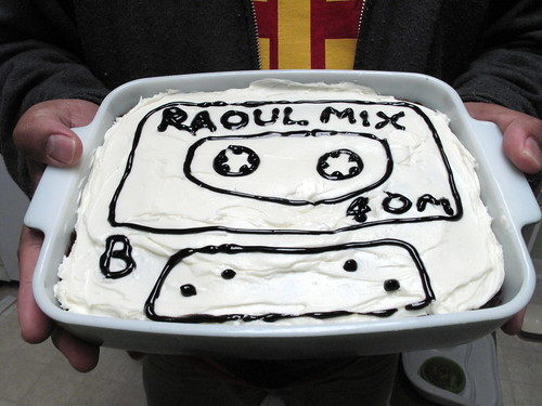 I made Raoul this birthday brownie!