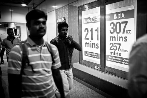 Posters advertising call rates back to Blangadesh and India. That's targeted advertising for this part of Singapore filled with foreign workers from these countries.