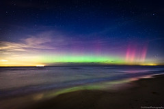 Aurora Borealis over Lake Michigan (Eric Hines Photography) Tags: beach stars indiana lakemichigan nightsky lanscape northernlights auroraborealis waterscape northwestindiana 1635mmf28lii dunesnationallakeshore 5dmarkii