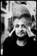 Zombie Walk (037) - 23Oct11, Paris (France) (]) Tags: portrait blackandwhite bw man paris hat beard dead fun death scary blood funny noiretblanc zombie walk mort fear humor grain makeup humour nb parade spooky panic gore chapeau horror terror sang maquillage marche barbe homme drle horreur peur livingdead terreur panique zombiewalk effrayant mortvivant