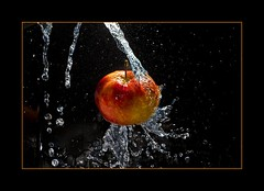 Bioapfel..   (bio apple..) (alfred.hausberger) Tags: apple water bio splash apfel updatecollection