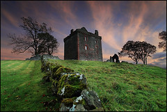 Balvaird Castle (angus clyne) Tags: sunset red sky cloud tree castle art halloween stone wall night forest canon scotland moss oak ancient purple angle time angus hill wide perthshire picture scottish glen spooky lee keep ash late filters mound fortress mossy dri gloaming clyne balvaird